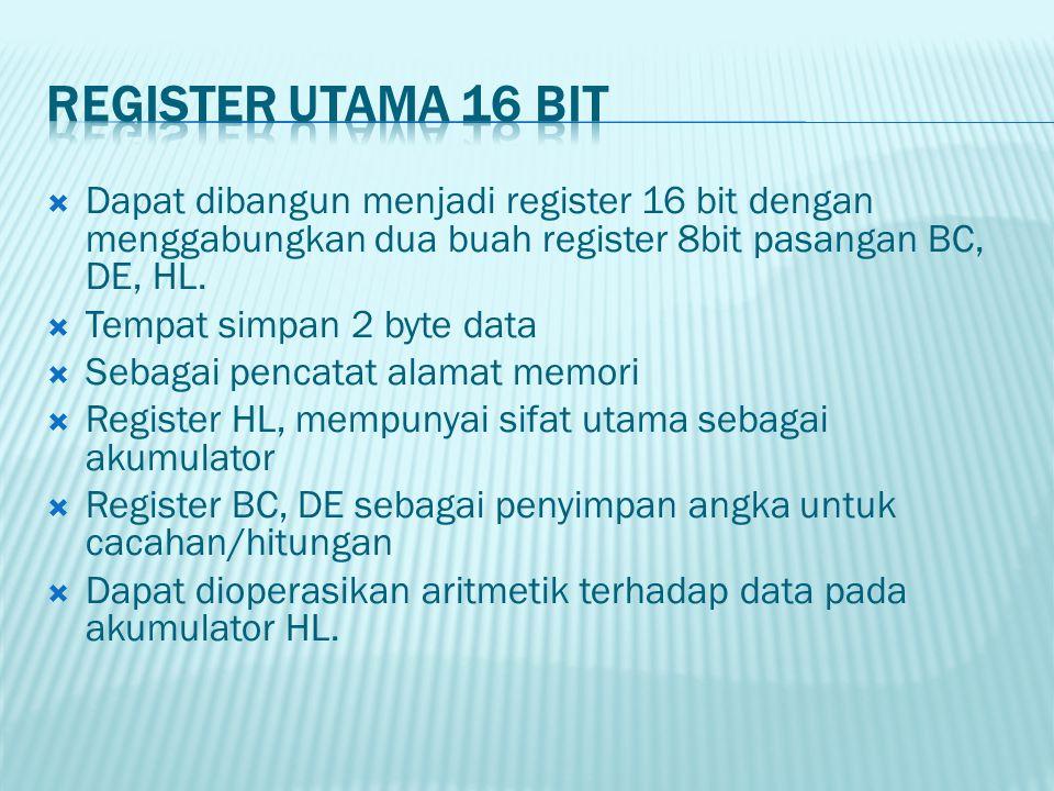 Register utama 16 Bit Dapat dibangun menjadi register 16 bit dengan menggabungkan dua buah register 8bit pasangan BC, DE, HL.