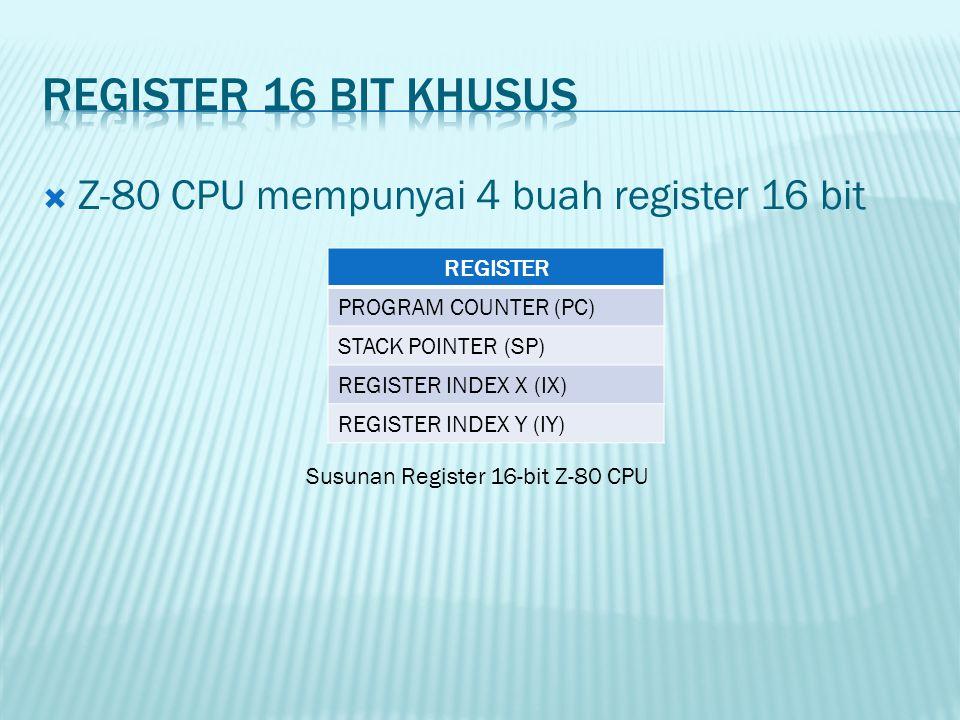 Register 16 Bit khusus Z-80 CPU mempunyai 4 buah register 16 bit
