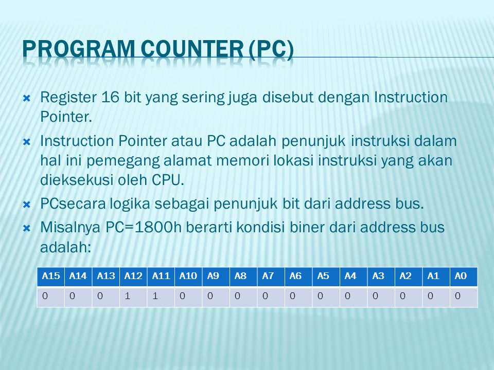 PROGRAM COUNTER (PC) Register 16 bit yang sering juga disebut dengan Instruction Pointer.