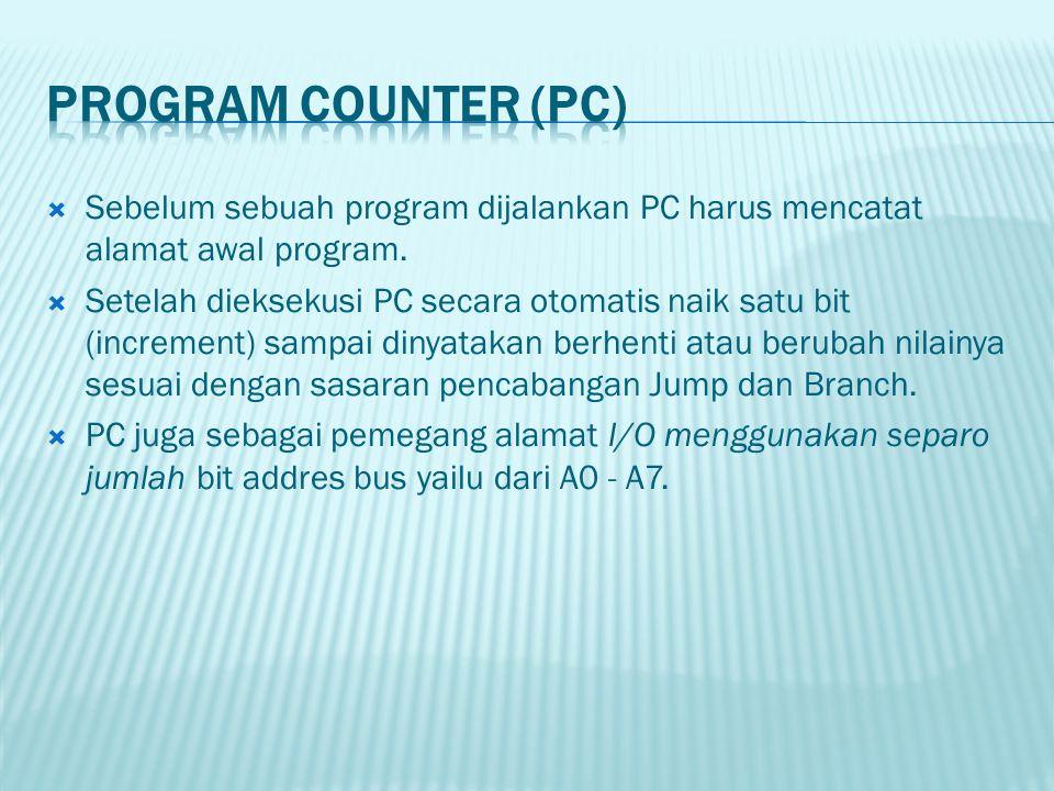 PROGRAM COUNTER (PC) Sebelum sebuah program dijalankan PC harus mencatat alamat awal program.