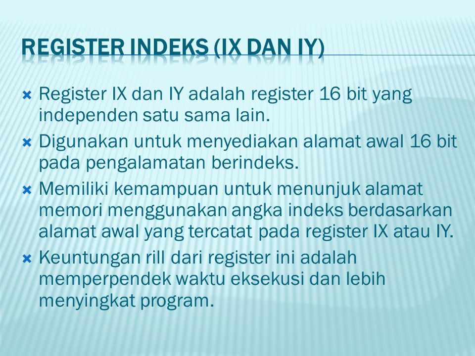 REGISTER INDEKS (IX dAn IY)