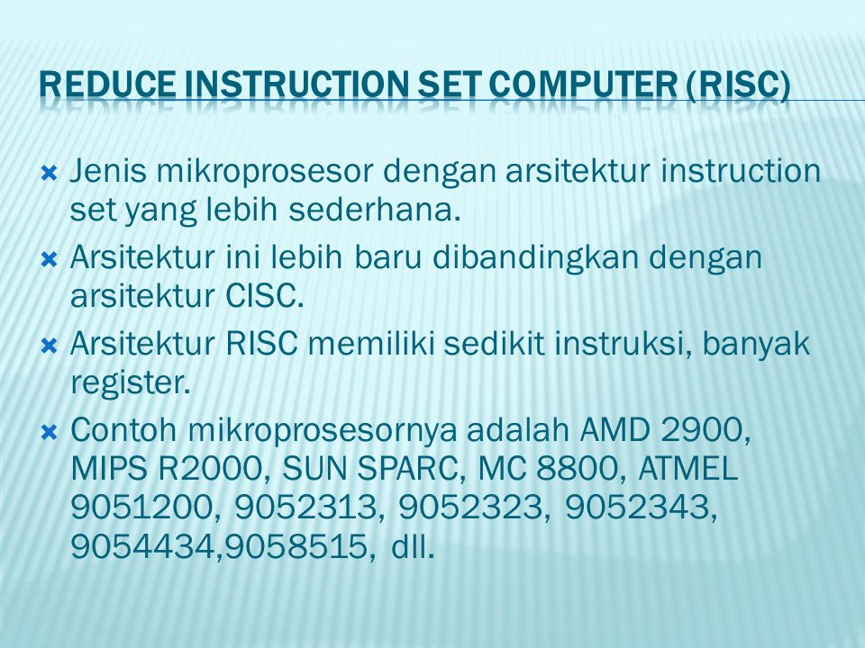 Reduce Instruction Set Computer (RISC)