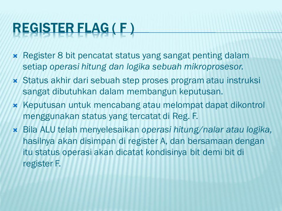 REGISTER FLAG ( F ) Register 8 bit pencatat status yang sangat penting dalam setiap operasi hitung dan logika sebuah mikroprosesor.