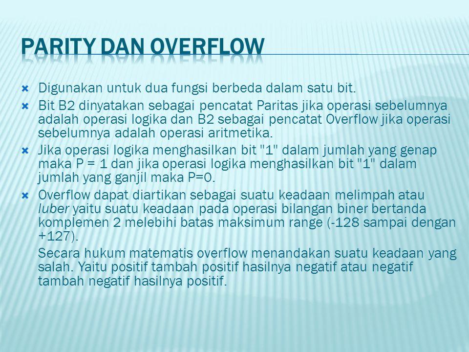Parity dan Overflow Digunakan untuk dua fungsi berbeda dalam satu bit.
