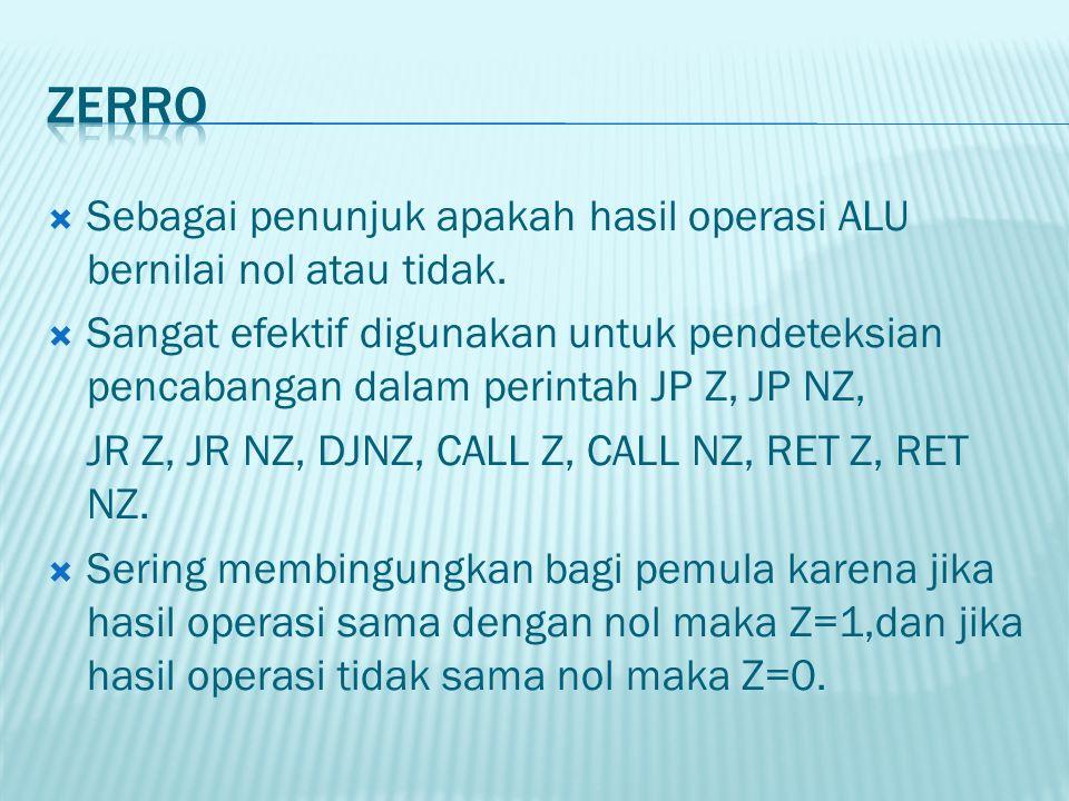 Zerro Sebagai penunjuk apakah hasil operasi ALU bernilai nol atau tidak.