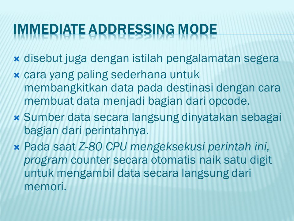 Immediate Addressing Mode