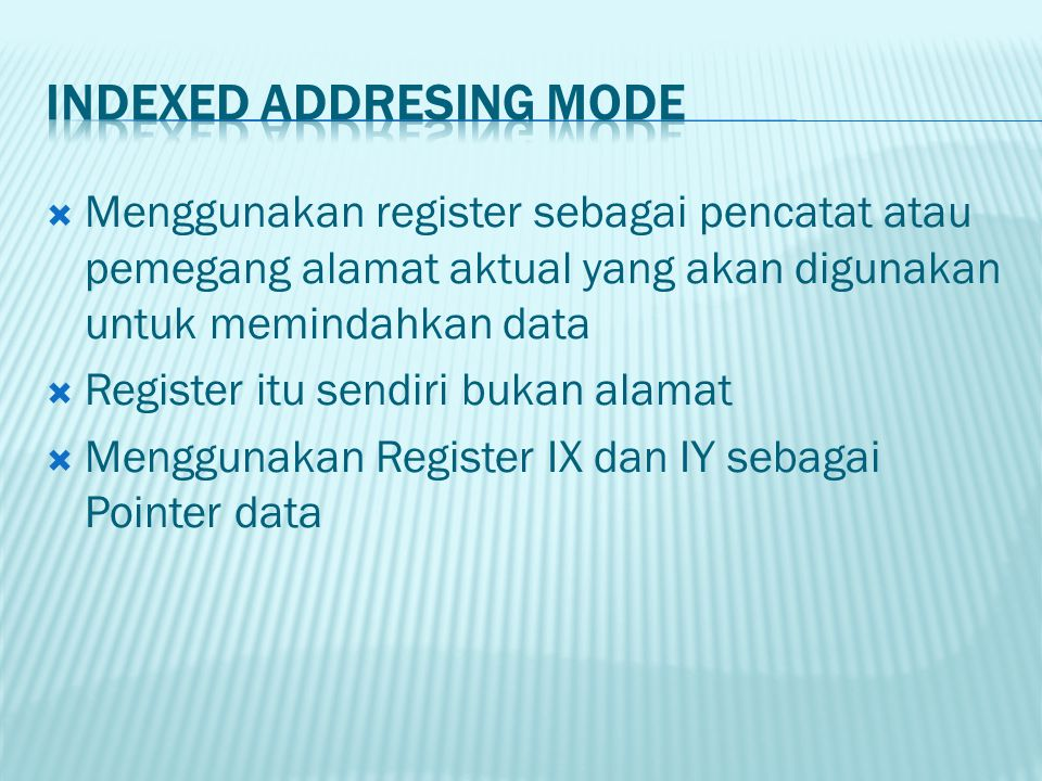Indexed Addresing Mode
