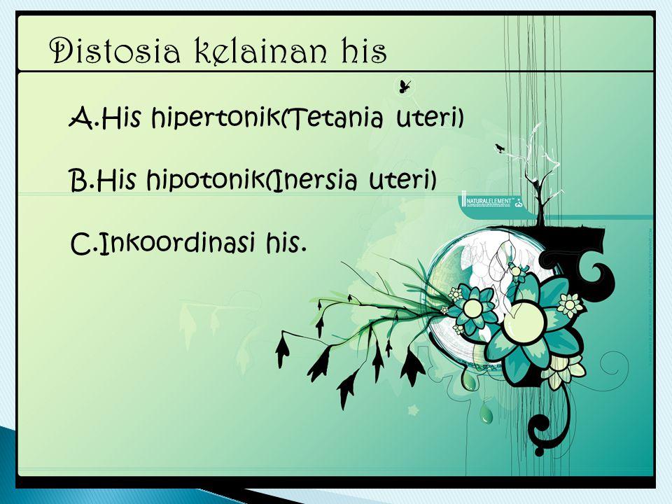Distosia kelainan his A.His hipertonik(Tetania uteri)