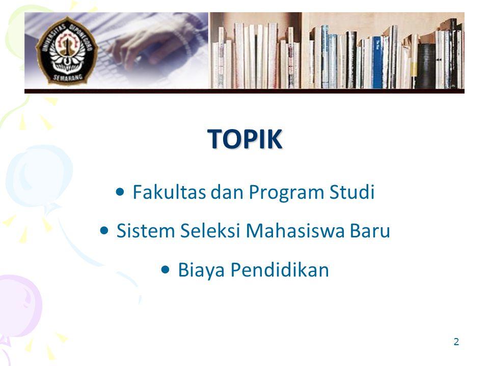 TOPIK Fakultas dan Program Studi Sistem Seleksi Mahasiswa Baru