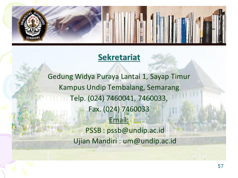 Sekretariat Gedung Widya Puraya Lantai 1, Sayap Timur