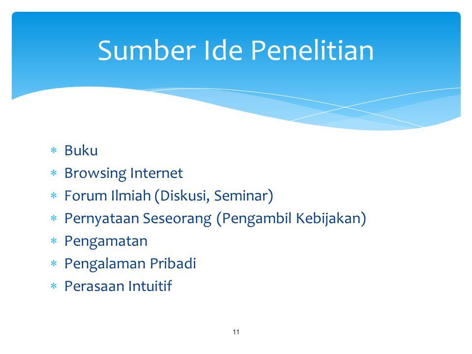 Sumber Ide Penelitian Buku Browsing Internet