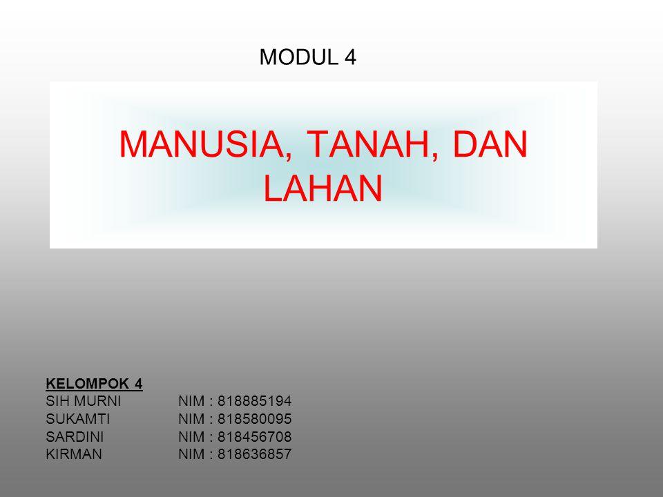 MANUSIA, TANAH, DAN LAHAN