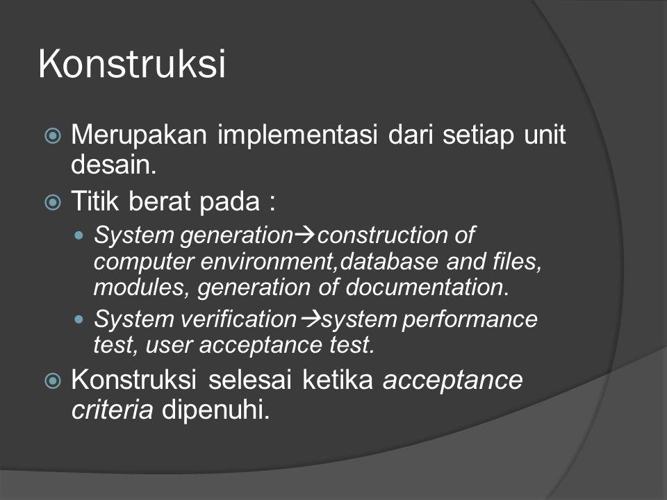 Konstruksi Merupakan implementasi dari setiap unit desain.