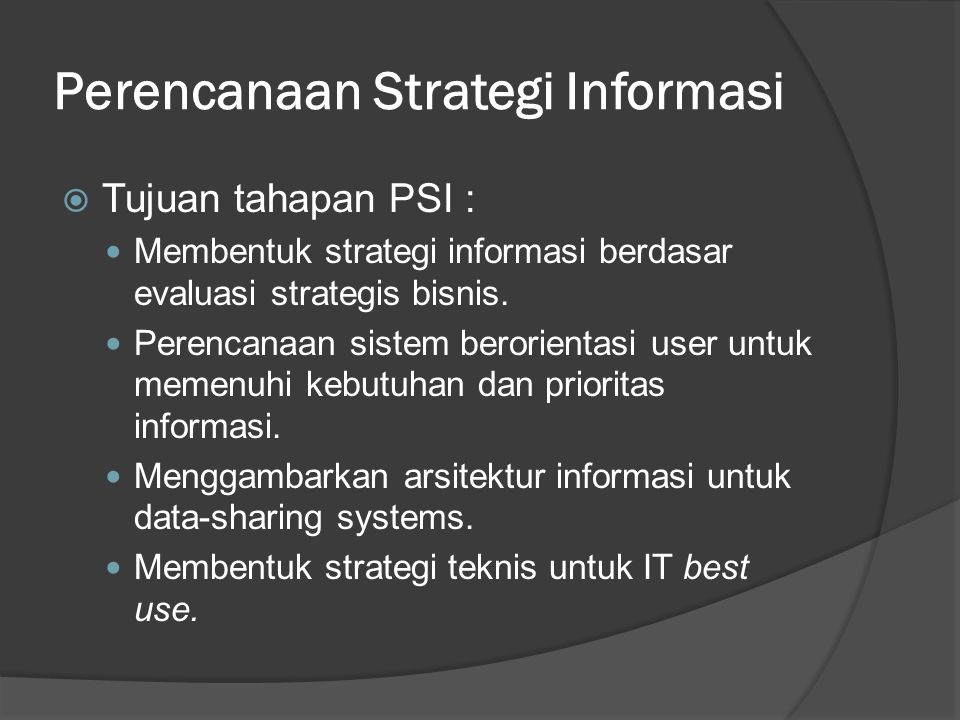 Perencanaan Strategi Informasi