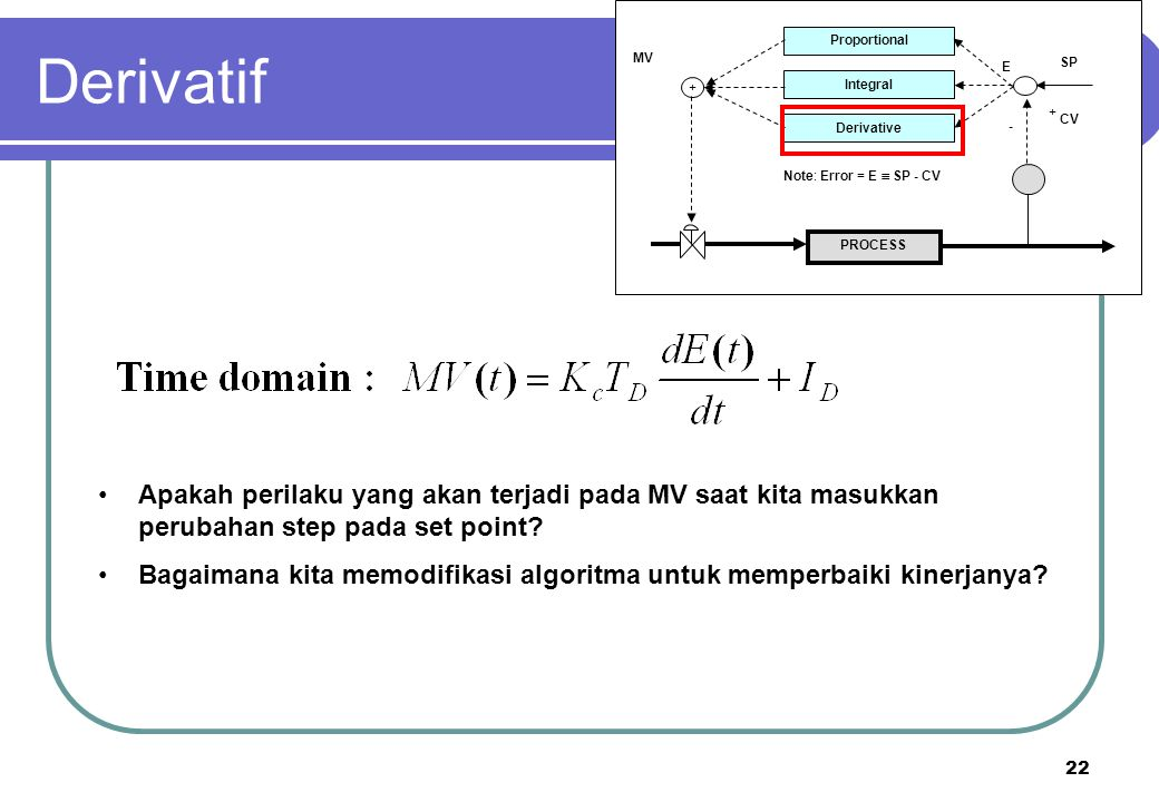 Derivatif PROCESS. Proportional. Integral. Derivative. + - CV. SP. E. MV. Note: Error = E  SP - CV.