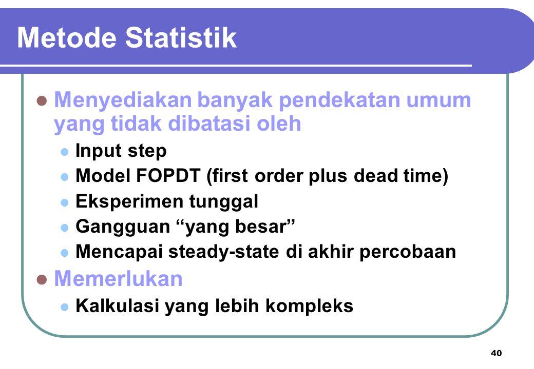 Metode Statistik Menyediakan banyak pendekatan umum yang tidak dibatasi oleh. Input step. Model FOPDT (first order plus dead time)