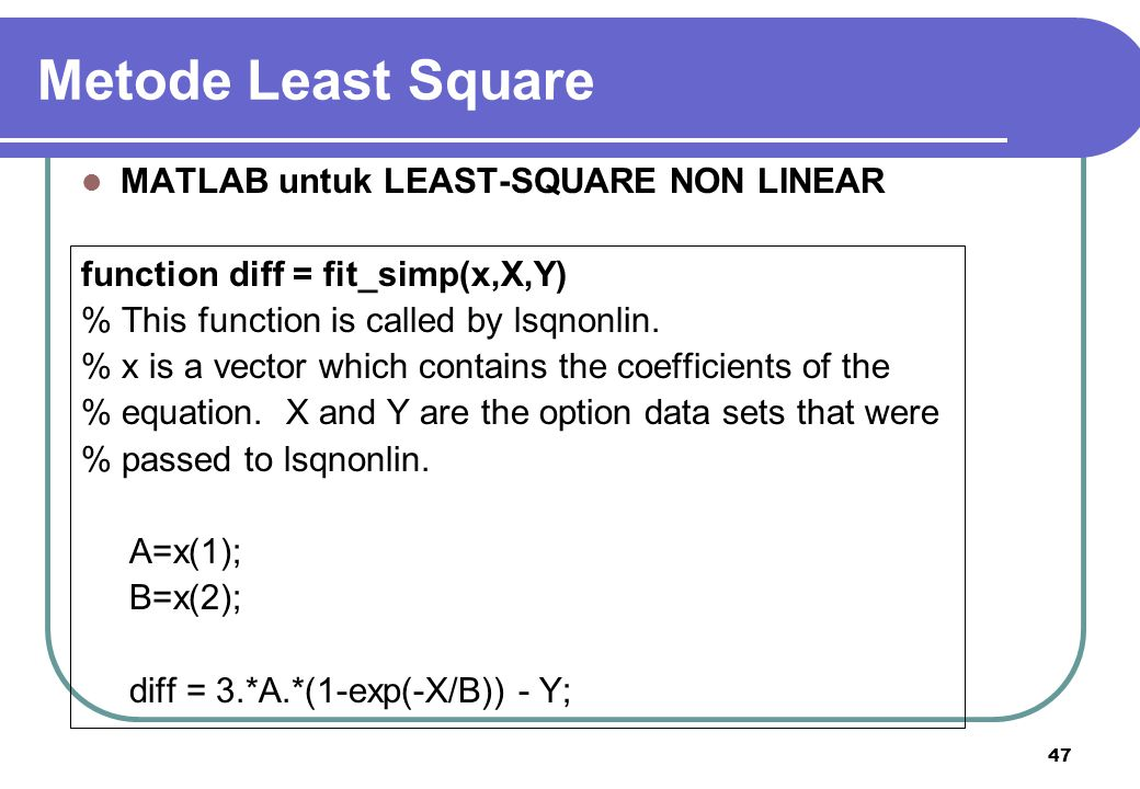 Metode Least Square MATLAB untuk LEAST-SQUARE NON LINEAR