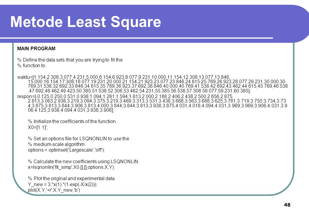 Metode Least Square MAIN PROGRAM
