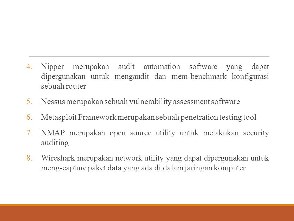 Nipper merupakan audit automation software yang dapat dipergunakan untuk mengaudit dan mem-benchmark konfigurasi sebuah router