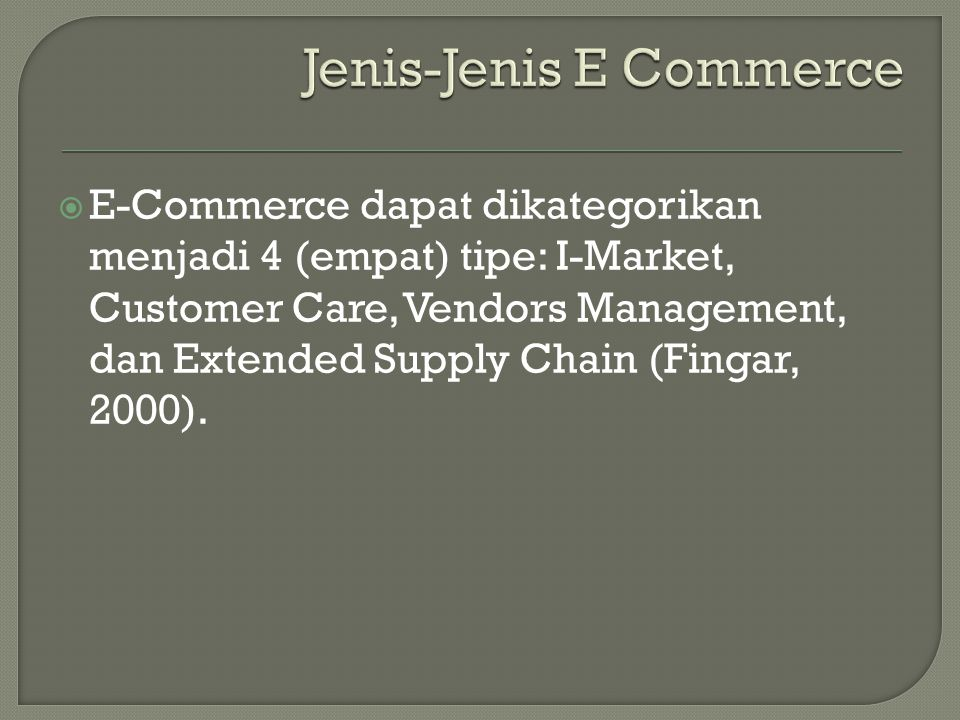 Jenis-Jenis E Commerce