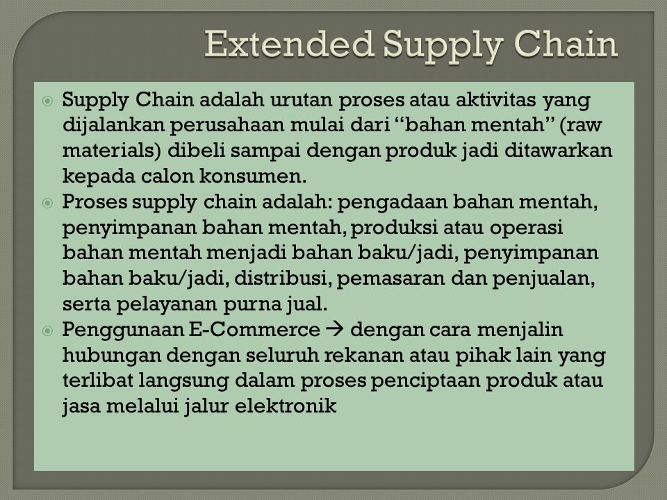 Extended Supply Chain