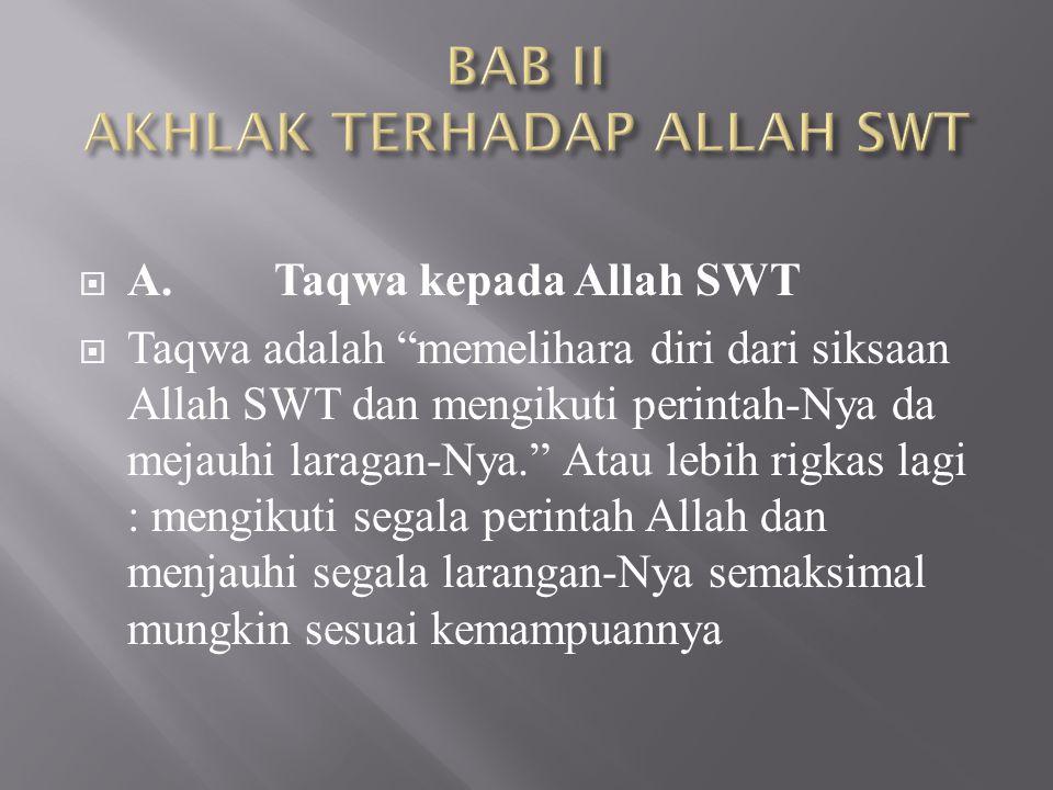 BAB II AKHLAK TERHADAP ALLAH SWT