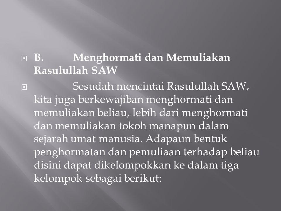 B. Menghormati dan Memuliakan Rasulullah SAW