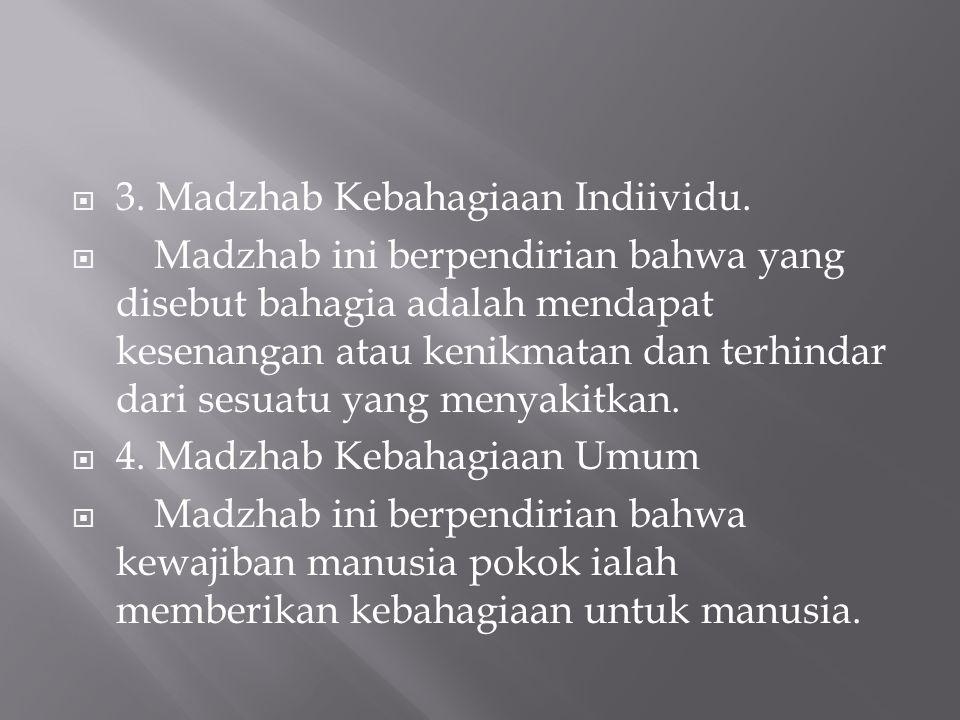 3. Madzhab Kebahagiaan Indiividu.