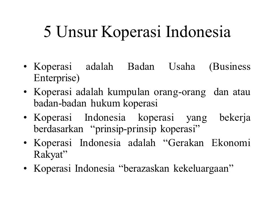 5 Unsur Koperasi Indonesia