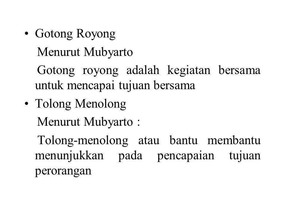 Gotong Royong Menurut Mubyarto. Gotong royong adalah kegiatan bersama untuk mencapai tujuan bersama.