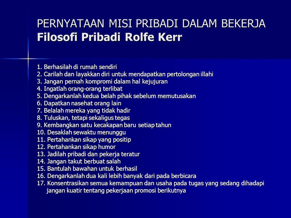 PERNYATAAN MISI PRIBADI DALAM BEKERJA Filosofi Pribadi Rolfe Kerr