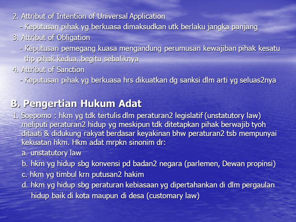 B. Pengertian Hukum Adat