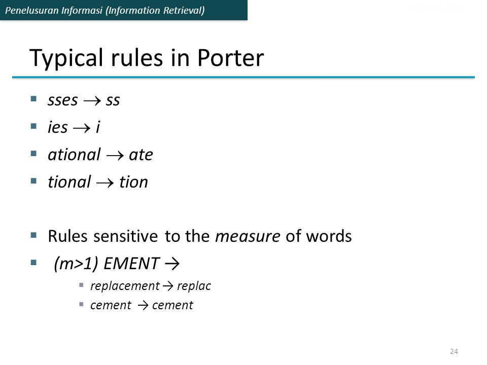 Typical rules in Porter