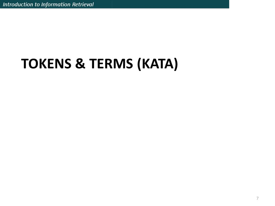 TOKENS & TERMS (KATA)