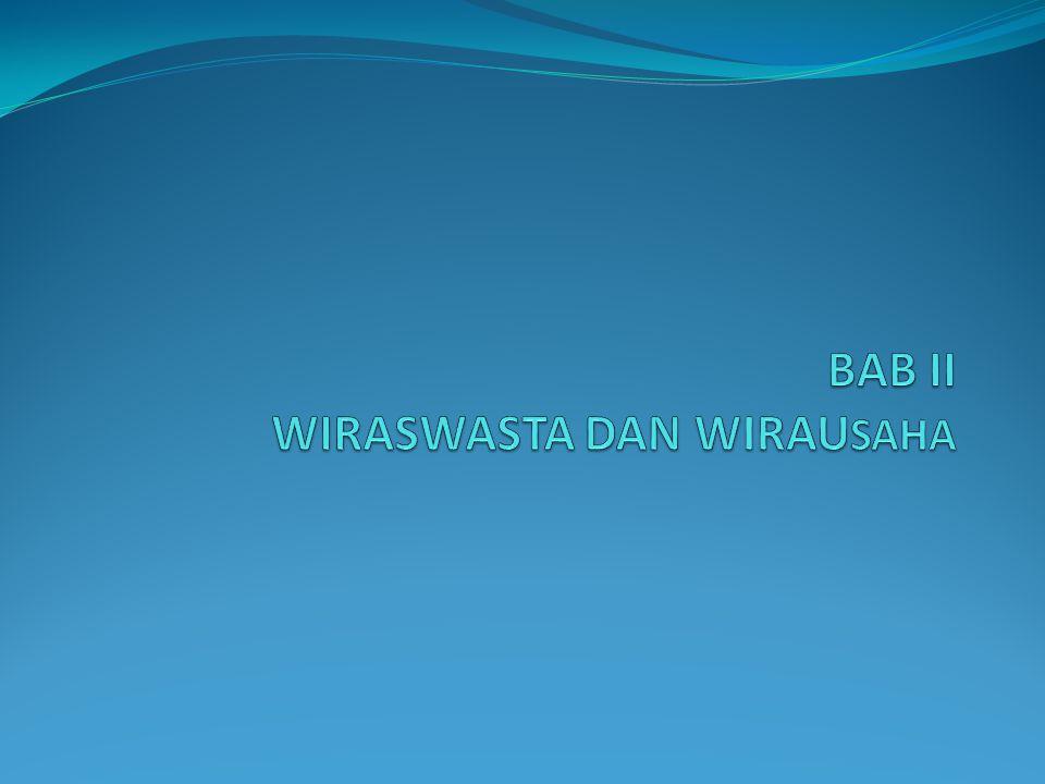 BAB II WIRASWASTA DAN WIRAUSAHA