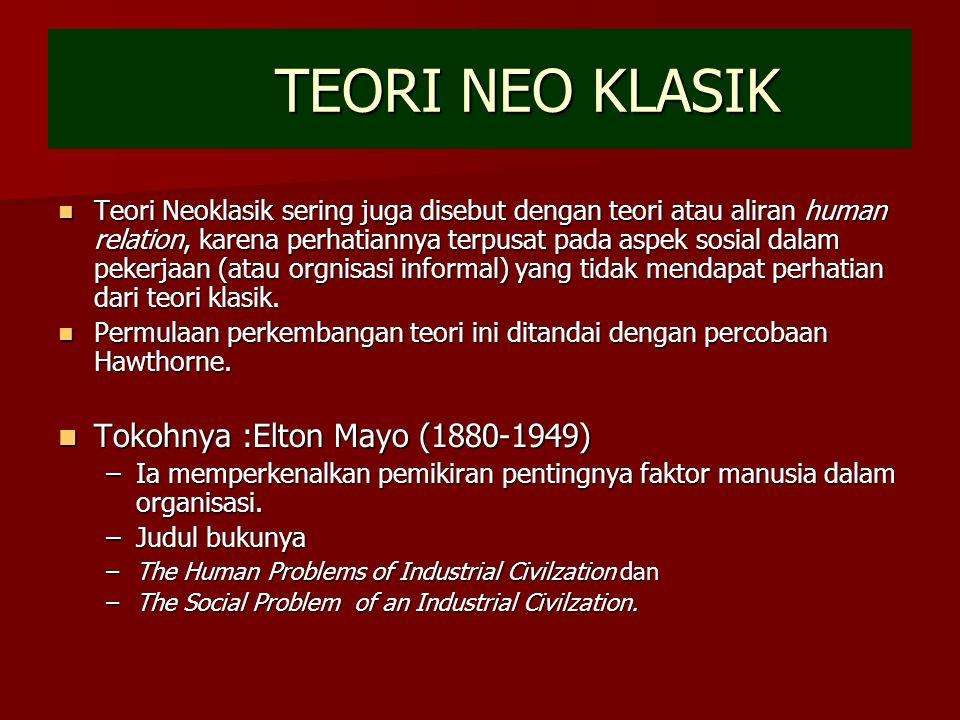 TEORI NEO KLASIK Tokohnya :Elton Mayo (1880-1949)