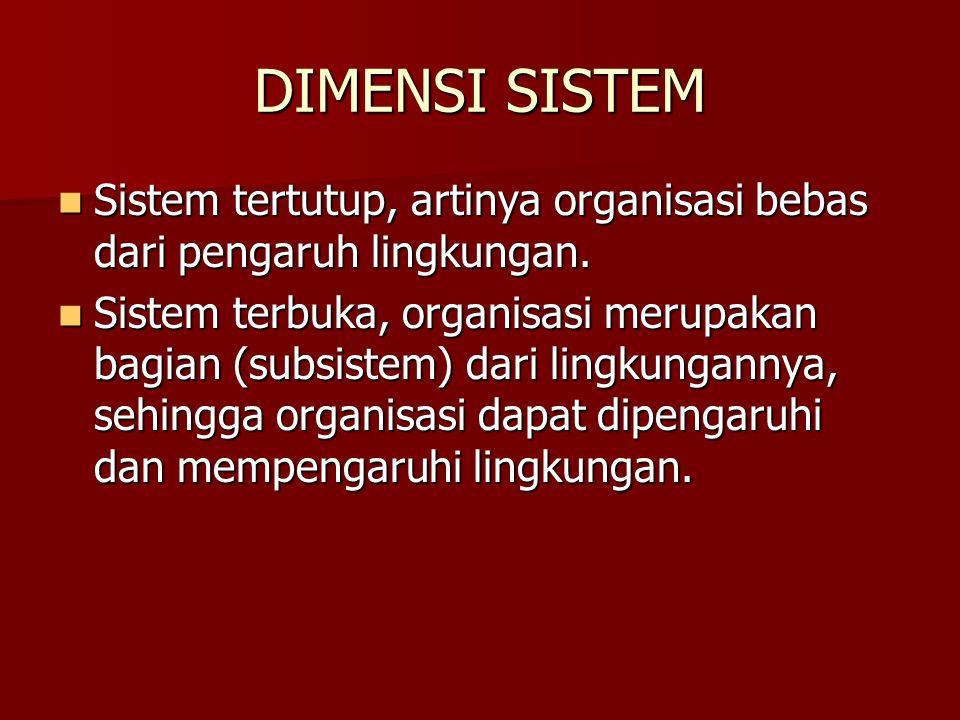 DIMENSI SISTEM Sistem tertutup, artinya organisasi bebas dari pengaruh lingkungan.