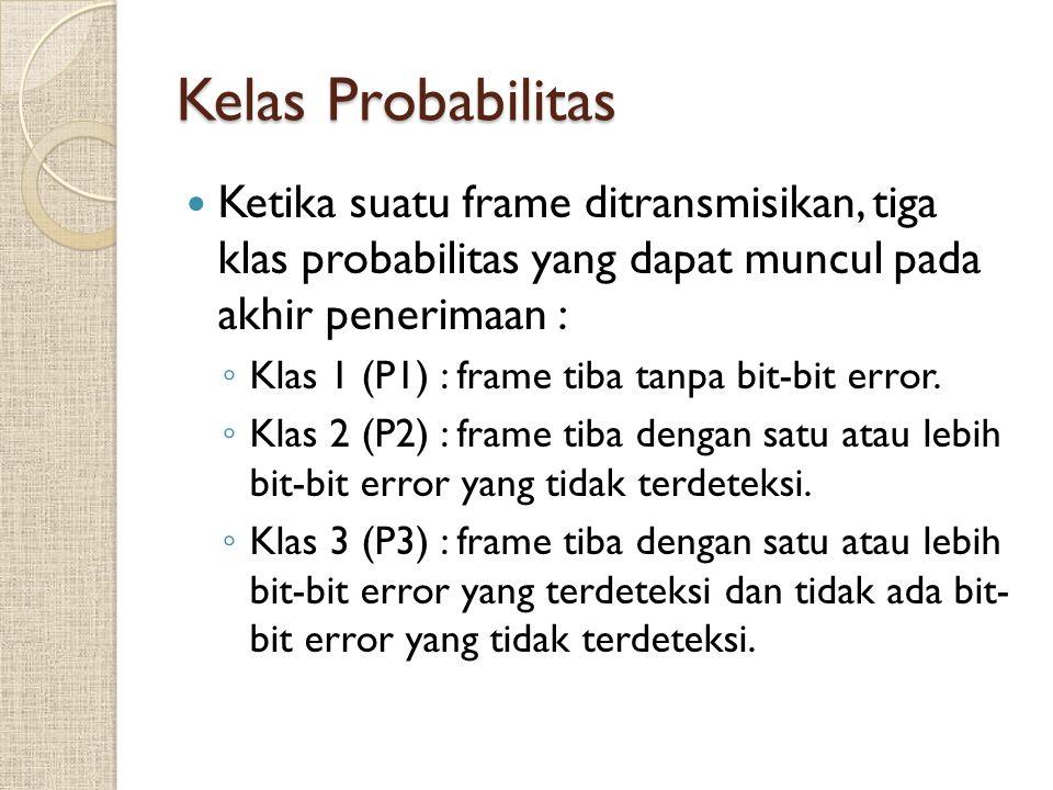Kelas Probabilitas Ketika suatu frame ditransmisikan, tiga klas probabilitas yang dapat muncul pada akhir penerimaan :