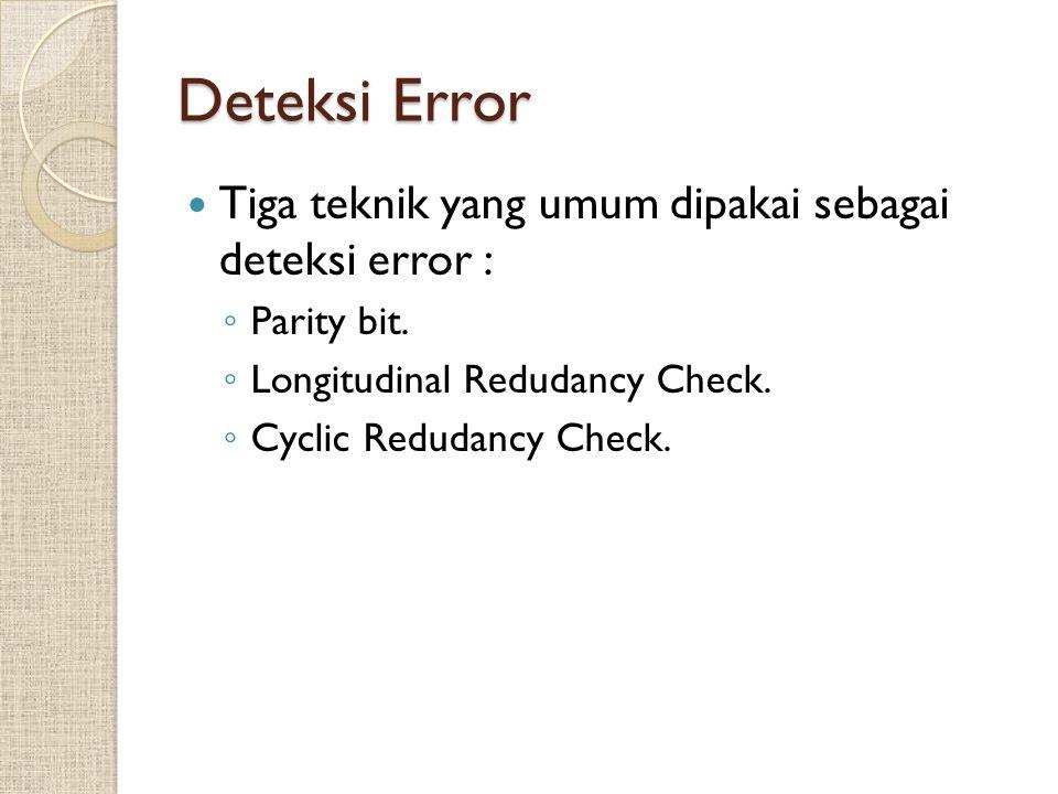 Deteksi Error Tiga teknik yang umum dipakai sebagai deteksi error :