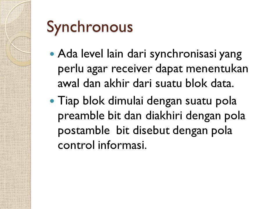 Synchronous Ada level lain dari synchronisasi yang perlu agar receiver dapat menentukan awal dan akhir dari suatu blok data.