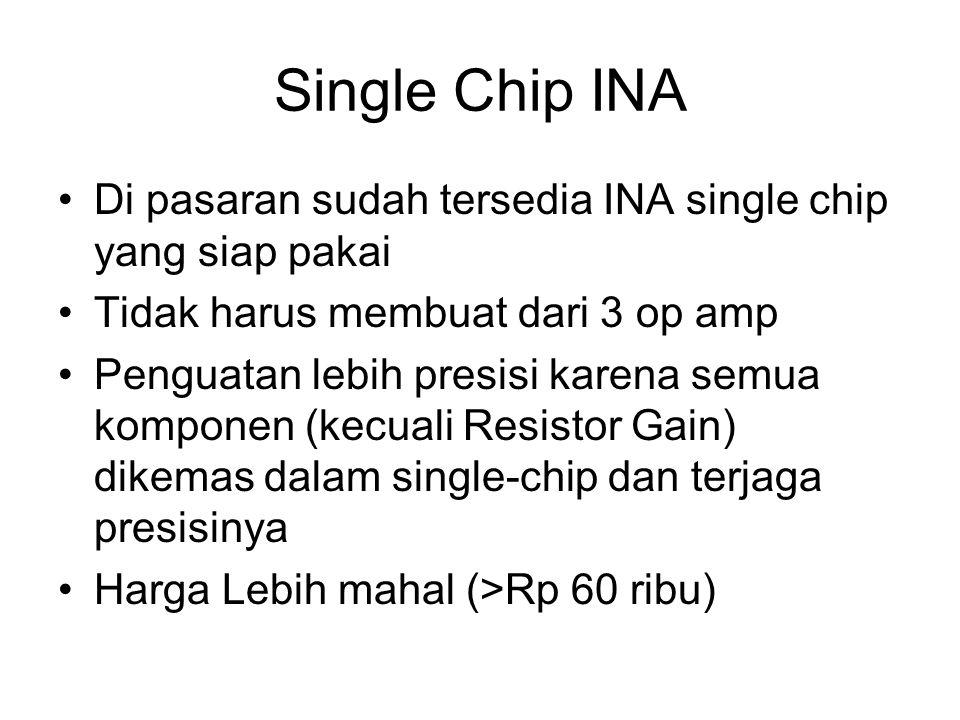 Single Chip INA Di pasaran sudah tersedia INA single chip yang siap pakai. Tidak harus membuat dari 3 op amp.