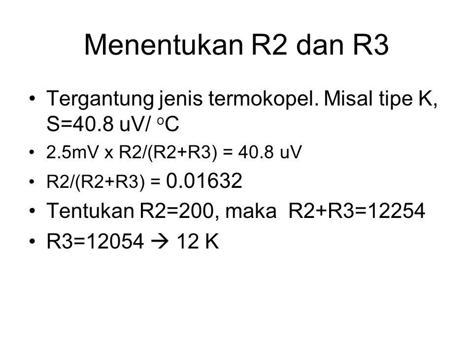 Menentukan R2 dan R3 Tergantung jenis termokopel. Misal tipe K, S=40.8 uV/ oC. 2.5mV x R2/(R2+R3) = 40.8 uV.