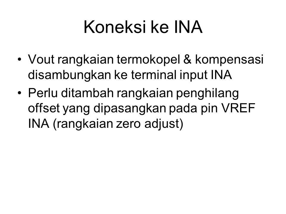 Koneksi ke INA Vout rangkaian termokopel & kompensasi disambungkan ke terminal input INA.