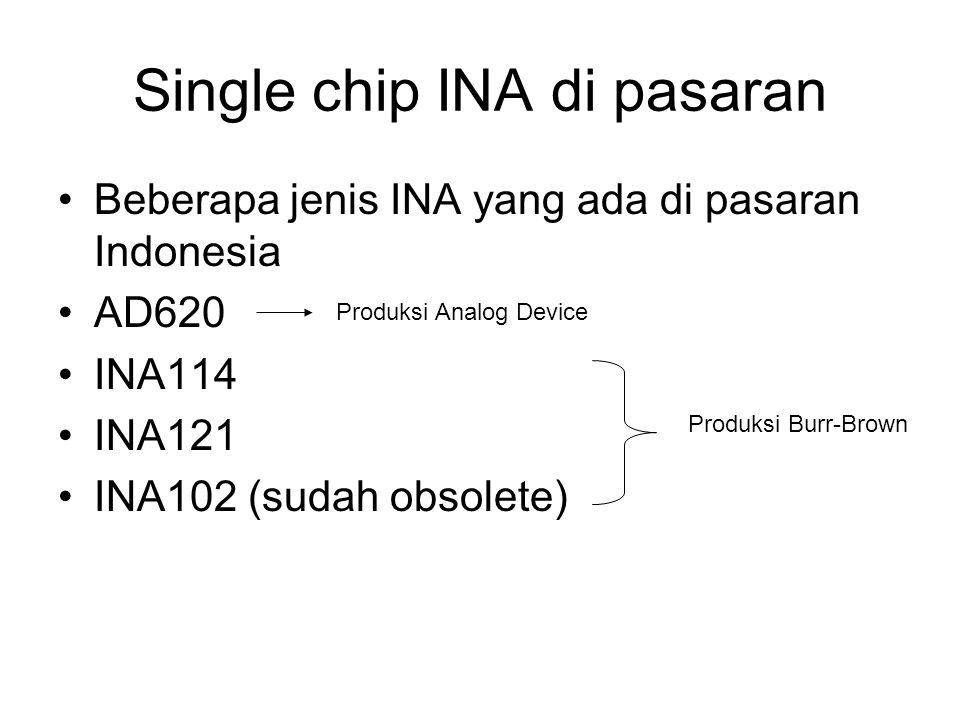 Single chip INA di pasaran
