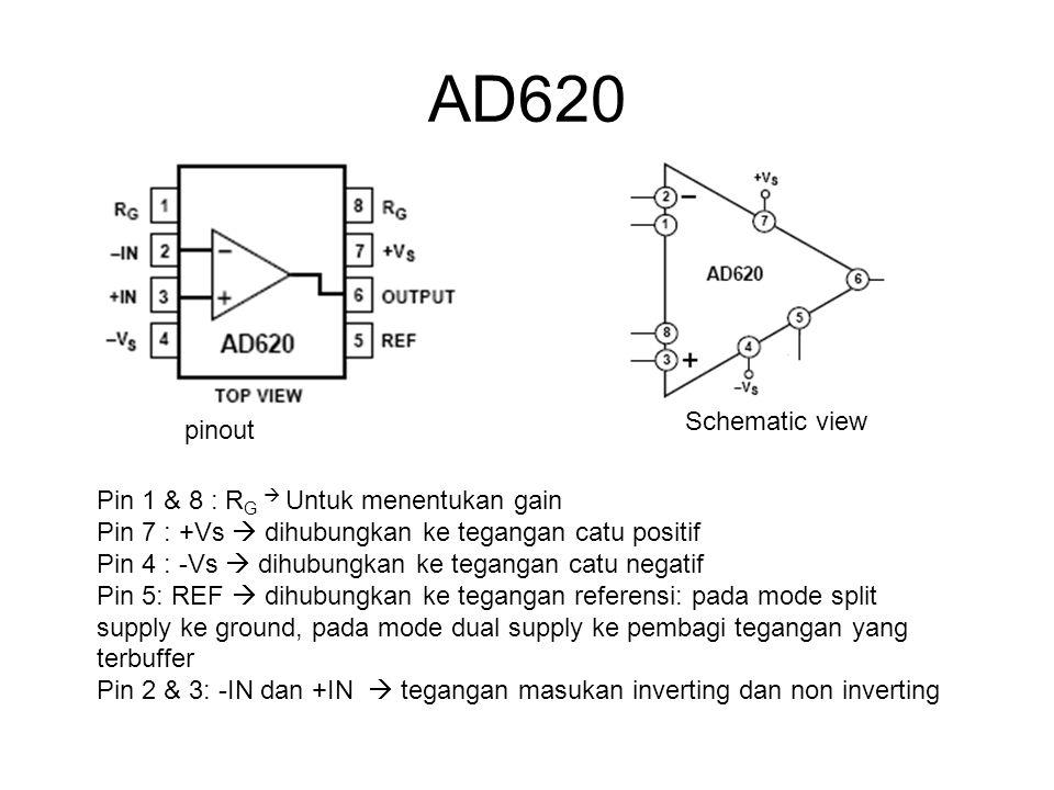 AD620 Schematic view pinout Pin 1 & 8 : RG  Untuk menentukan gain