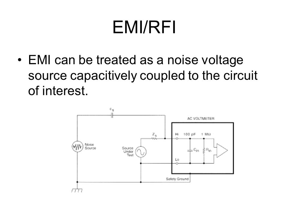 EMI/RFI EMI can be treated as a noise voltage source capacitively coupled to the circuit of interest.