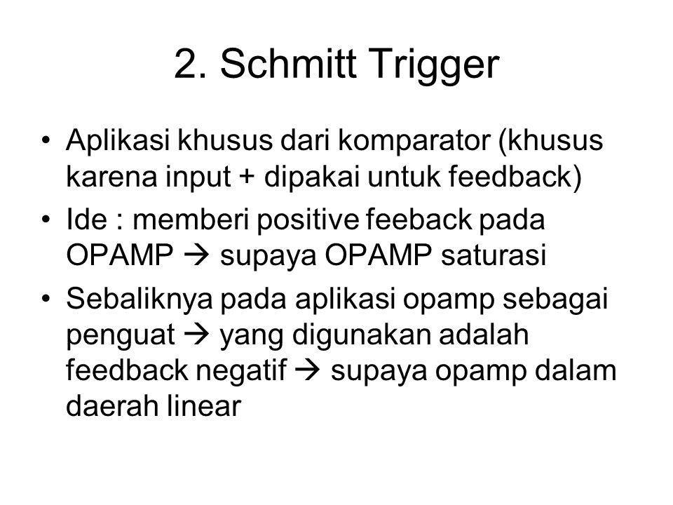 2. Schmitt Trigger Aplikasi khusus dari komparator (khusus karena input + dipakai untuk feedback)