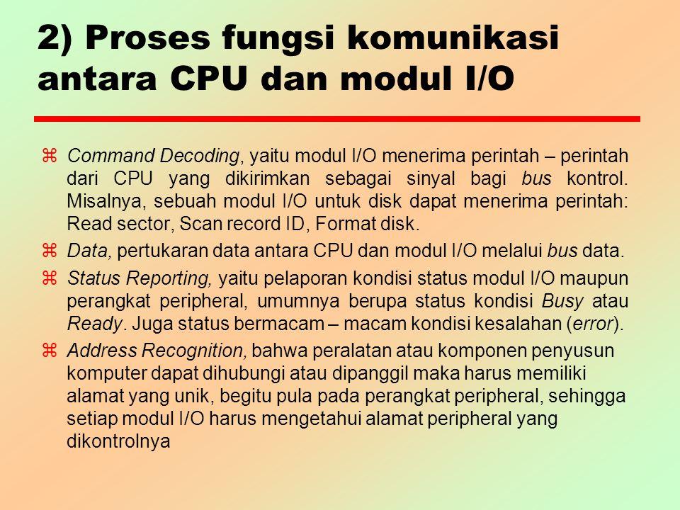 2) Proses fungsi komunikasi antara CPU dan modul I/O