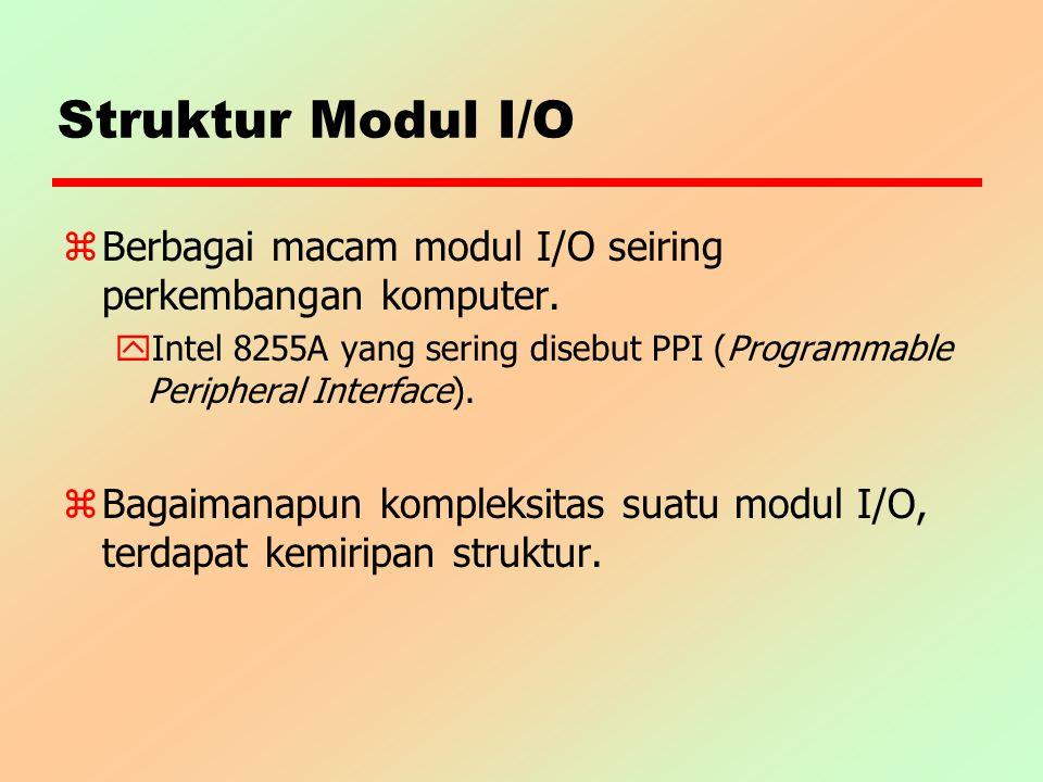 Struktur Modul I/O Berbagai macam modul I/O seiring perkembangan komputer. Intel 8255A yang sering disebut PPI (Programmable Peripheral Interface).