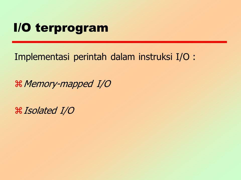 I/O terprogram Implementasi perintah dalam instruksi I/O :